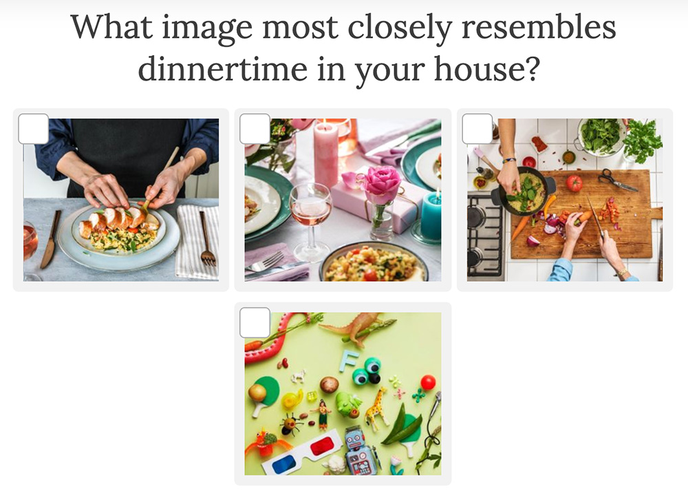 4 images to choose what dinner looks like at your house
