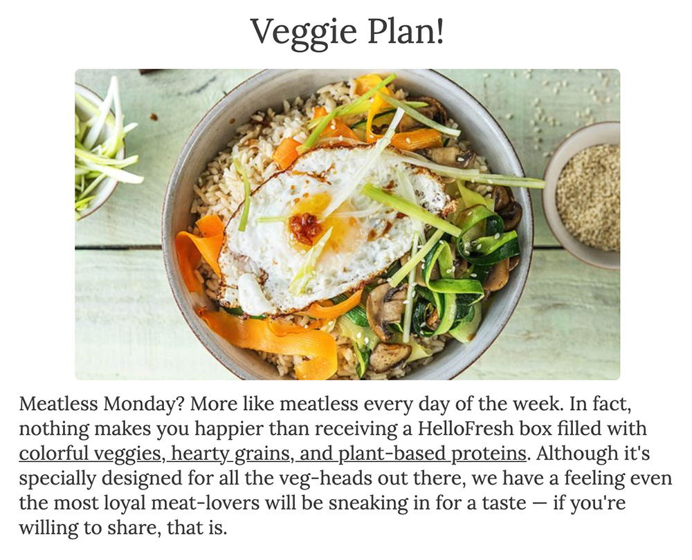 Veggie plan results from hello fresh survey