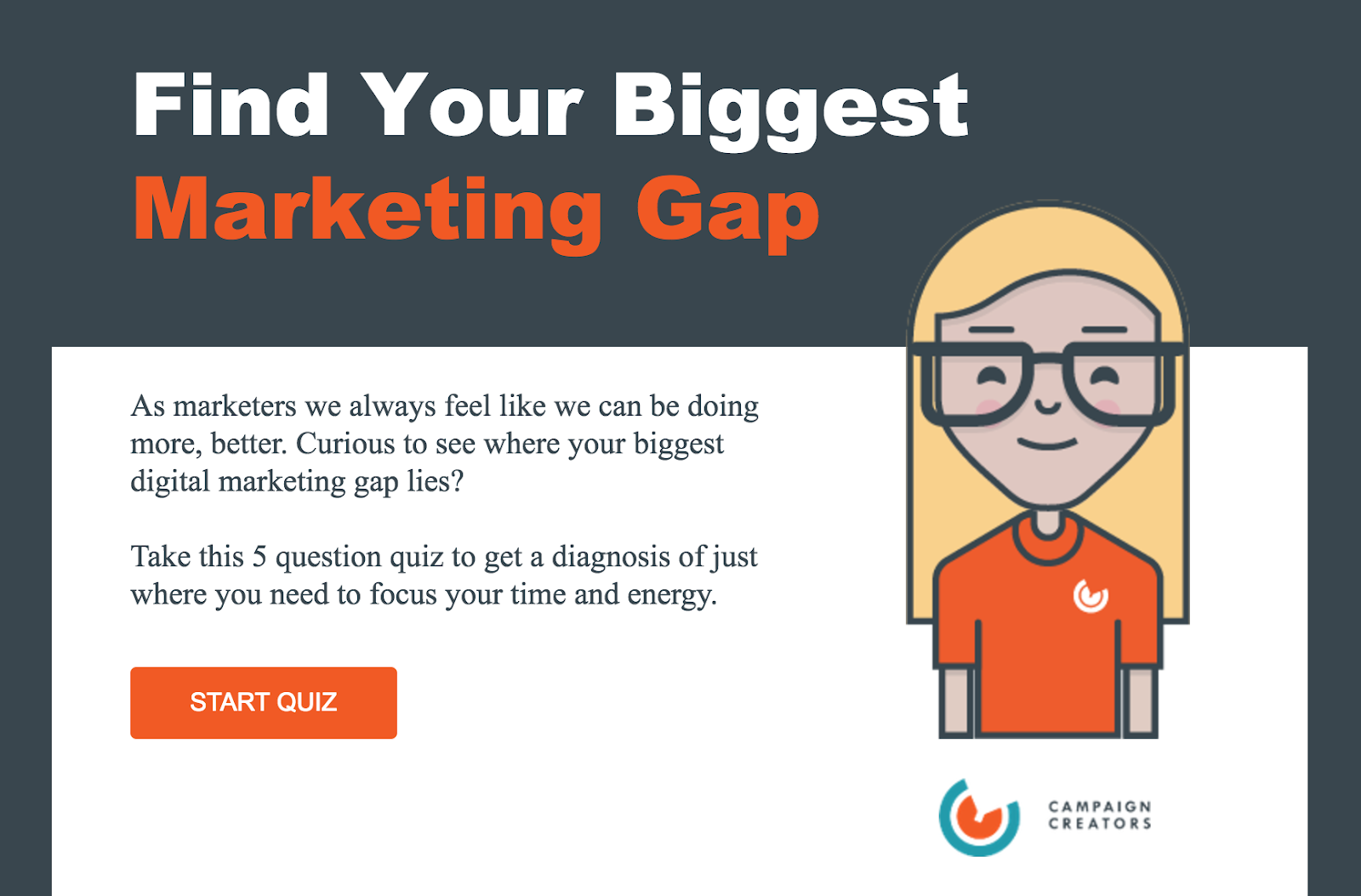 quiz cover for find your biggest marketing gap