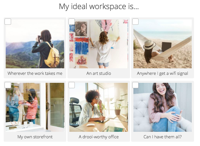 Quiz question about favorite place to work from Interact quiz