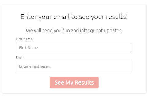 Email subscription form for quiz results