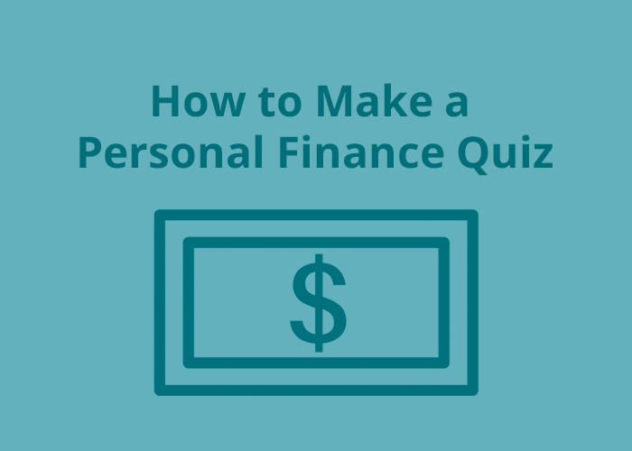 money icon on blue background with how to make a personal finance quiz