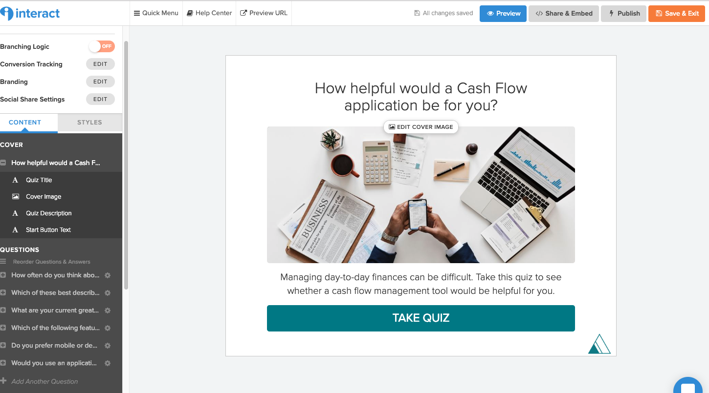 How Helpful would a Cash Flow application be to you? quiz cover