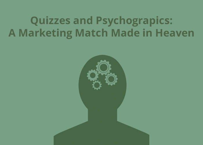 green background with Quizzes and Psychographics A Marketing Match Made in Heave and head with gears in it
