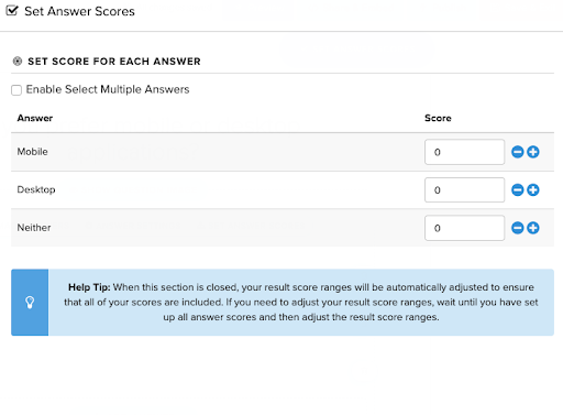 adding values to answers in the Interact Quiz Builder