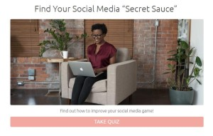 quiz cover with what's your social media secret sauce and a woman working on laptop