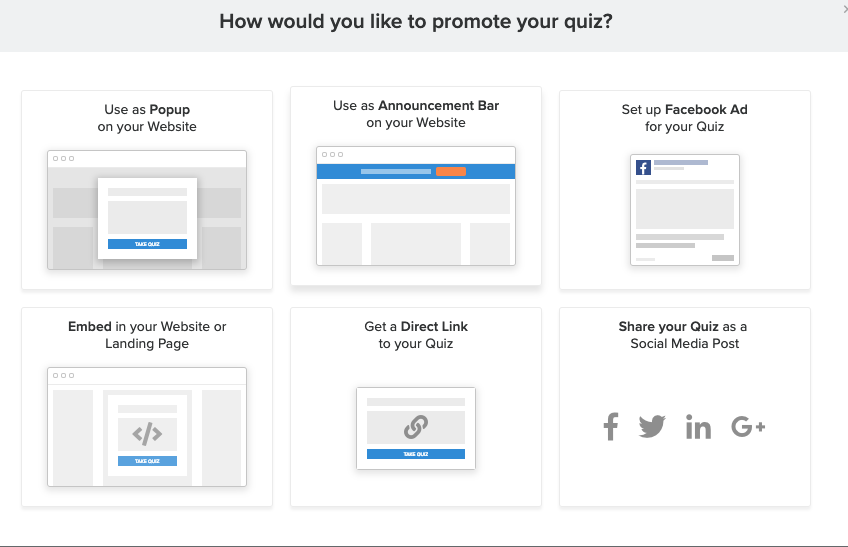 screenshot of all of the ways you can promote a quiz