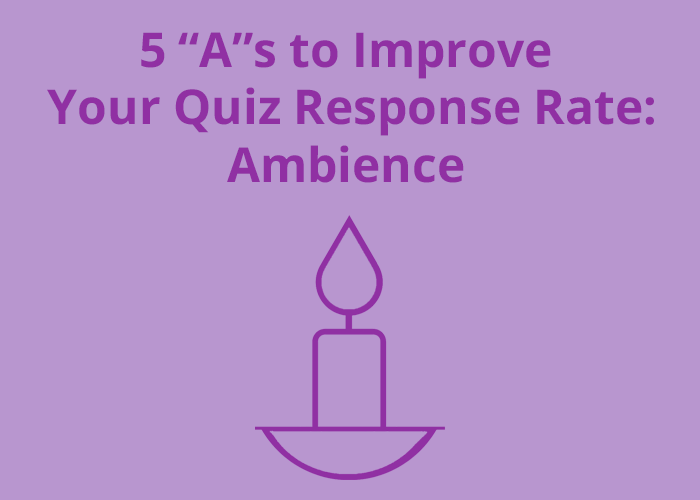 outline of a candle on purple background with 5 as to improve quiz response rate ambience