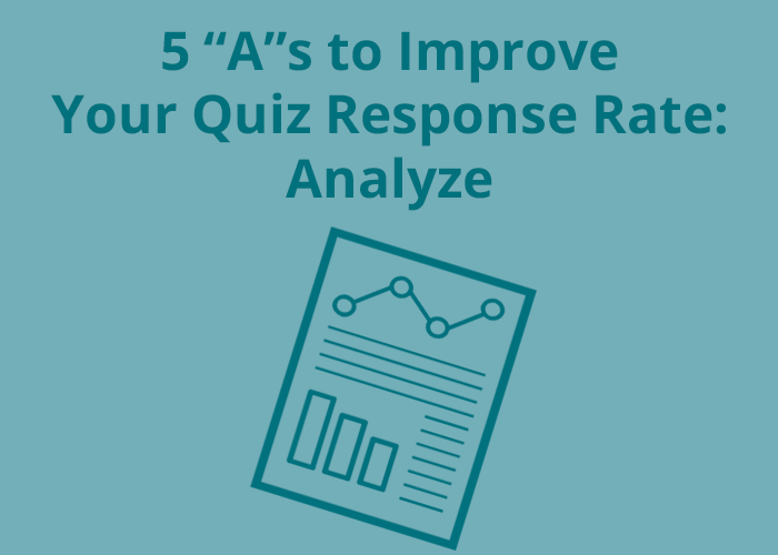 paper icon with a bar graph and line graph on blue background with 5 as to improve your quiz response rate analyze