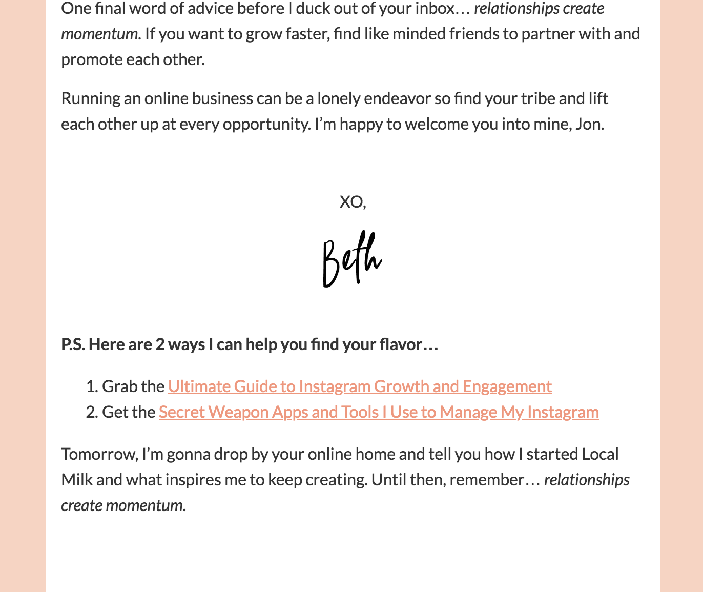 ending of email with next steps listed