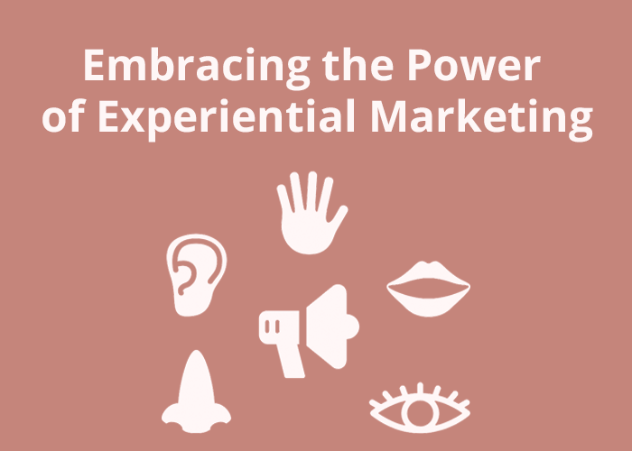 rose background with eye, ear, mouth, nose, hand, and megaphone and Embracing the power of experiential marketing