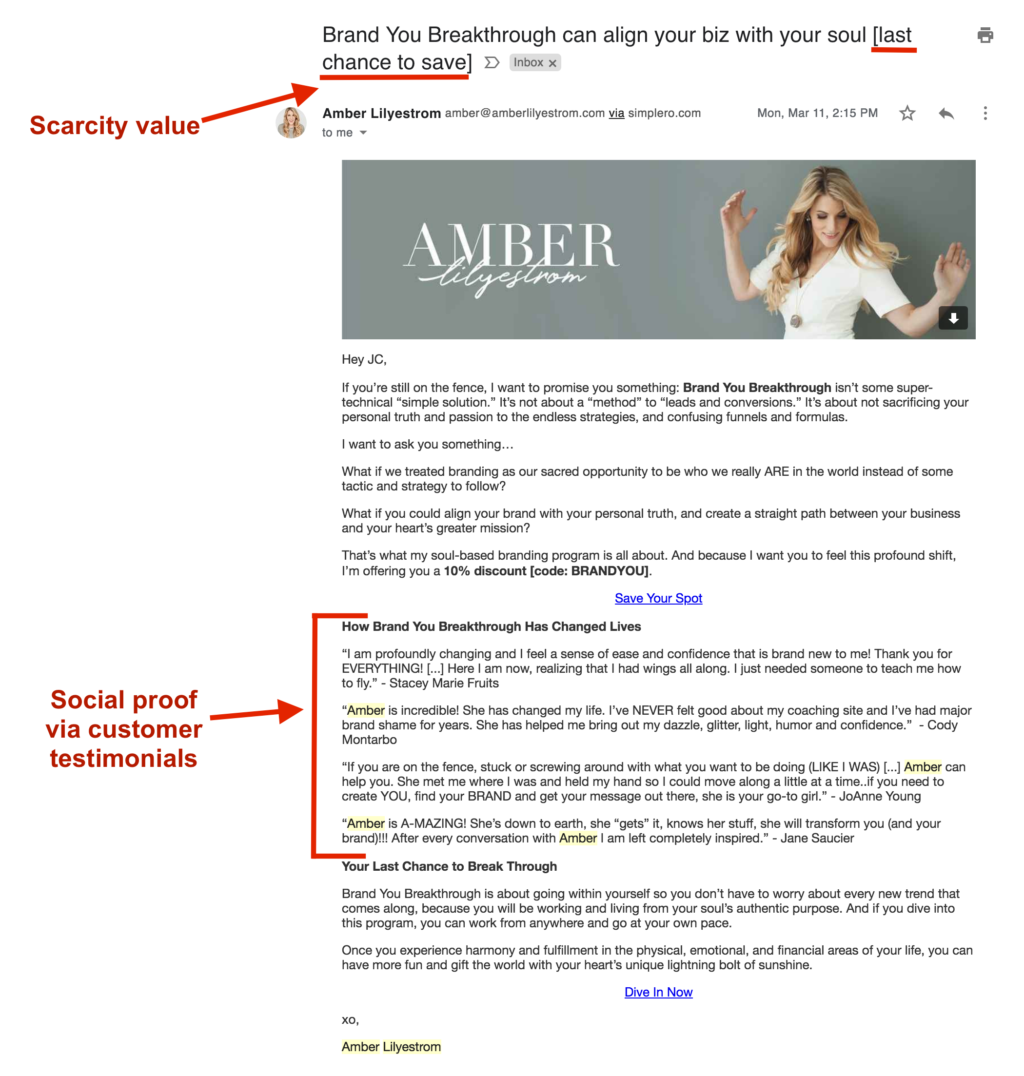 woman in header and email with sections highlighted with descriptions in red