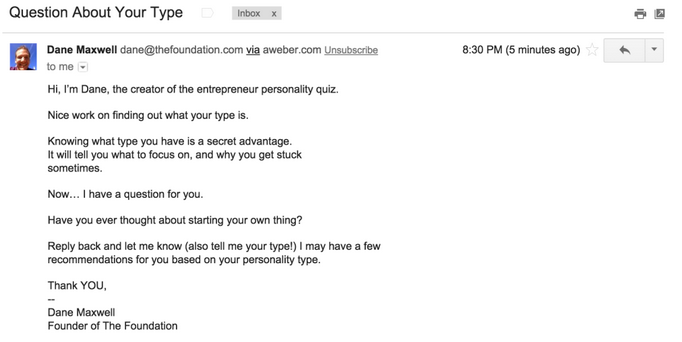 email from man asking a question