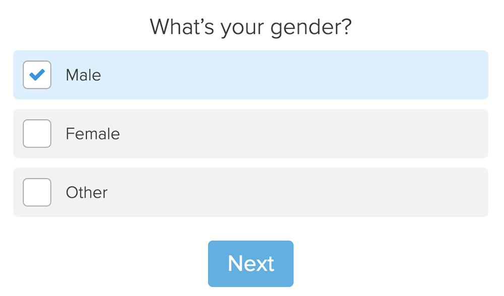 gender questions with male, female, and other choices