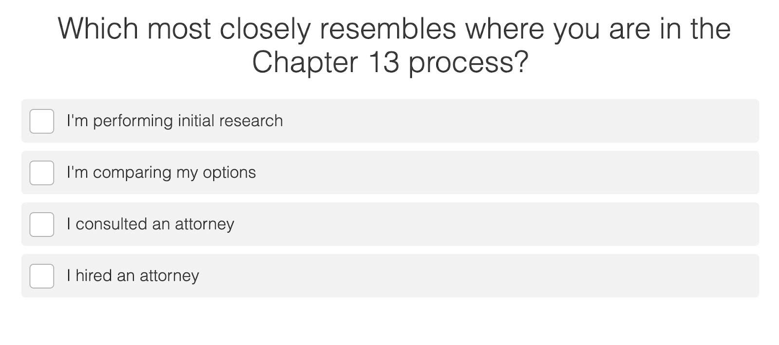 quiz question to identify where a person is in Ch 13 bankruptcy process