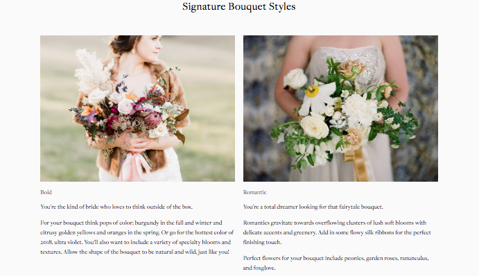 two different bouquets with quiz result descriptions