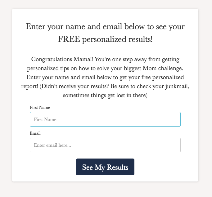 form to optin to email list to get quiz results