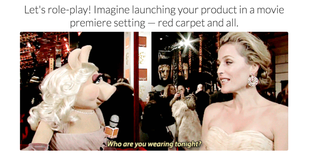 quiz question about launching on the red carpet with picture of movie star and Miss Piggy