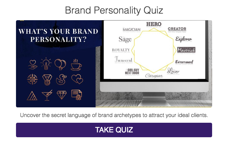 Brand personality quiz cover with 12 archetypes