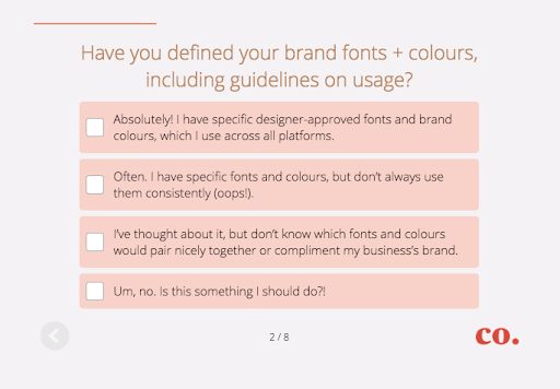 Quiz question on font colors and usage from Studio Co Creative