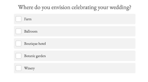 quiz question of where you want to celebrate wedding