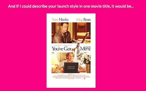 pink background with results from product launch quiz