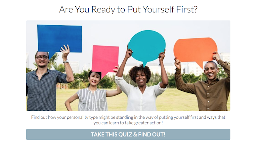 quiz cover with people holding up colored shapes