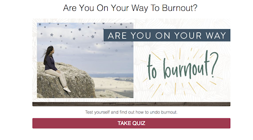 quiz cover with woman sitting on a rock with are you on your way to burnout