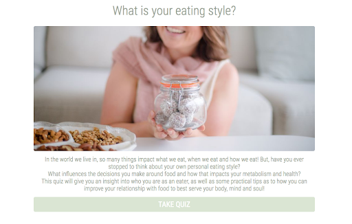 quiz cover with woman by a plate of food