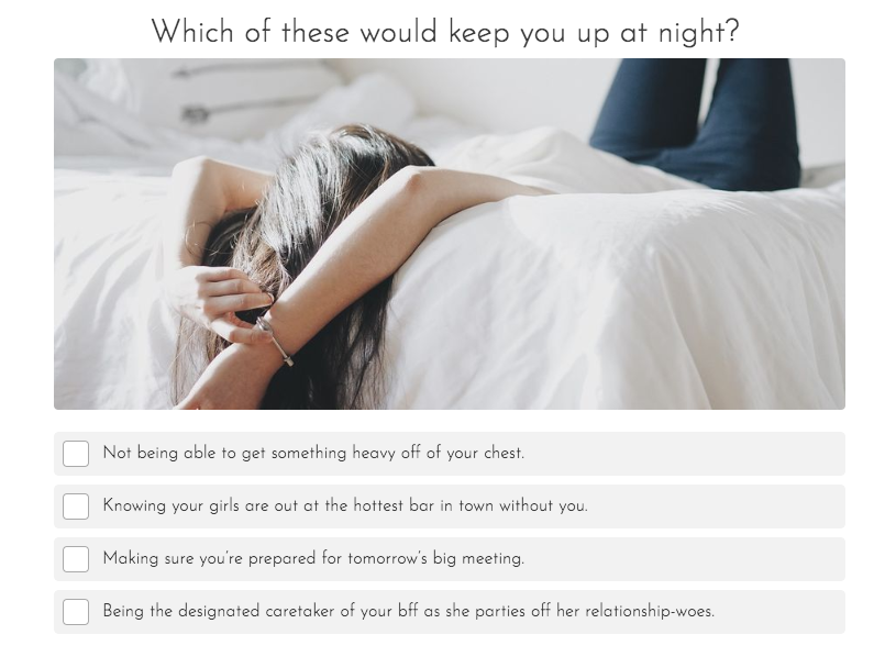 woman lying on bed with quiz choices about what keeps you up at night